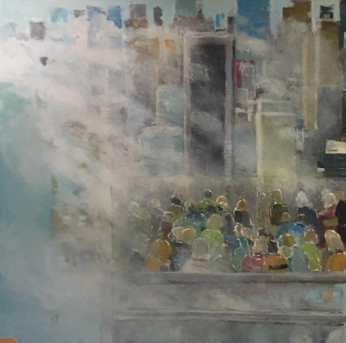 """Per Kjeld maleri med titlen; """"Smog"""" udsigt"""