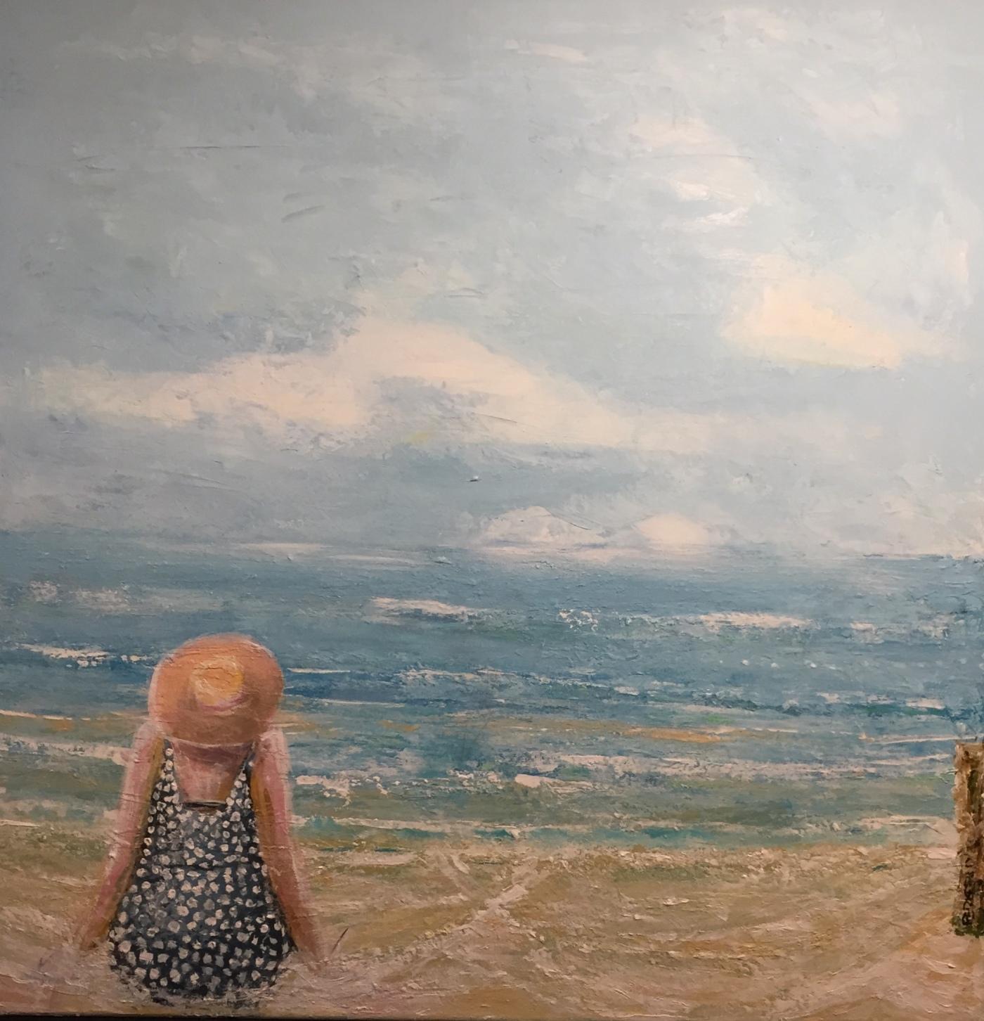 Per Kjeld maleri med titlen; Med r.ven i vandskorpen