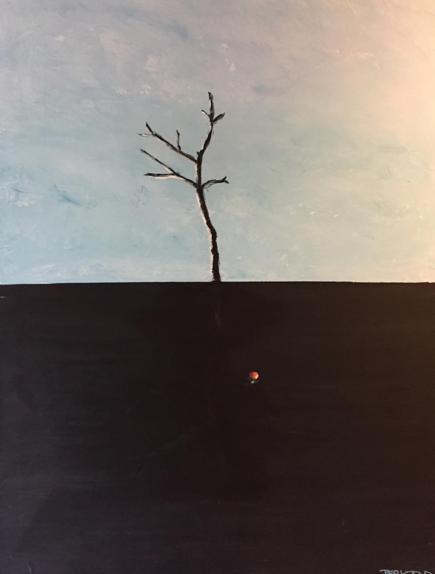 Per Kjeld maleri med titlen; Når æblet falder osv.
